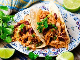 Slow Cooker Shredded Chicken Tex-Mex. selective focus